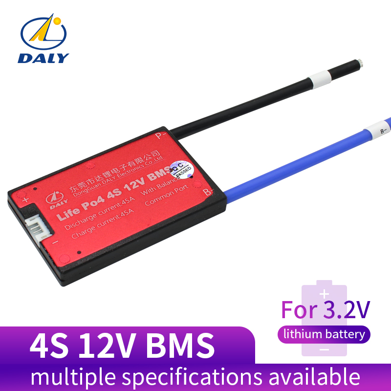 Daly 18650 BMS 4S 12V 25A 35A 45A 60A Waterproof BMS For Rechargeable Lifepo4 Battery With Same Port For Lithium Battery