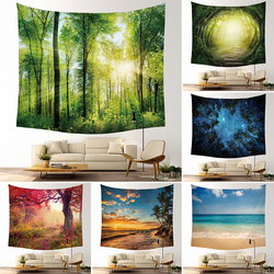 MRL Beautiful Night Sky Wall Tapestry Home Decorations Hanging Forest Starry Decor Curtains Bedroom Blanket Table Cover Yoga Mat