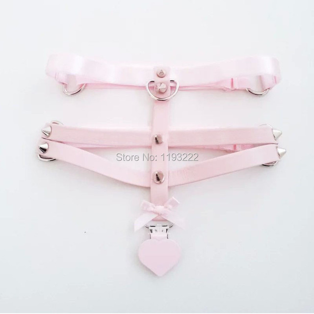 10b1f850066 Sexy Harajuku Lolita Pastel Pink Real Leather Three Row Rivets Heart Leg  Garter Belt Thigh Harness Suspender for Stocking