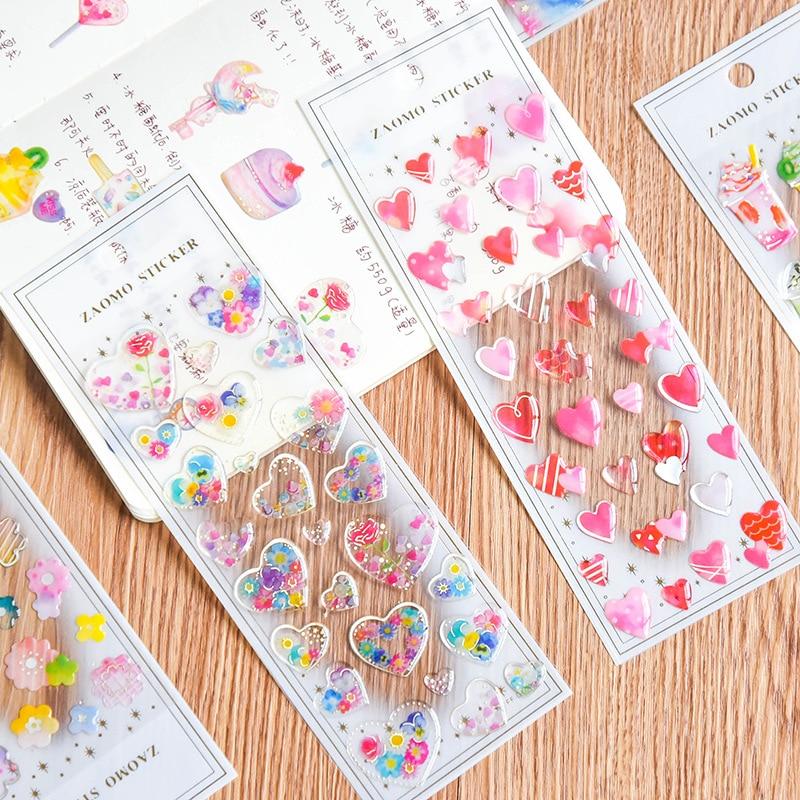Transparent Crystal Decorative Sticker Cute Cat Heart DIY Diary Album Scrapbooking Label Stickers Stationery School Supplies