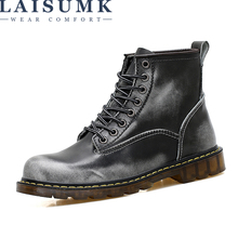 LAISUMK Autumn Winter New Fashion Brand Mens Martin Boots Vintage Style Casual Couple Shoes Soft Lace Up For Males