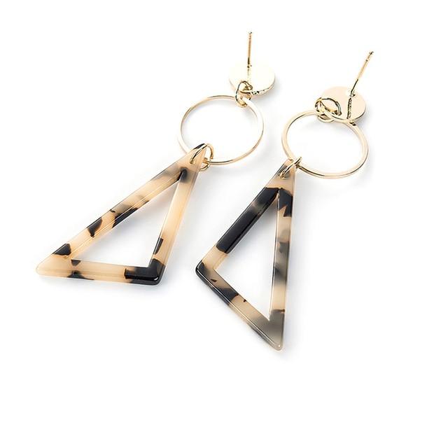 2019 Korea Fashionable Acetate Version Geometric Earrings Temperament Tortoiseshell Triangle Square Personality Earrings Jewelry