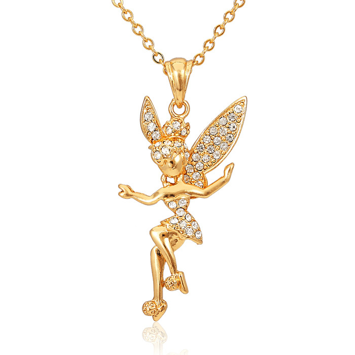 Aliexpress buy pendant necklace lovely cute fairy charm aliexpress buy pendant necklace lovely cute fairy charm pendant 18k gold plated rhinestone angel jewelry wholesale necklaces pendants p458 from aloadofball Image collections