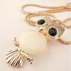 Kpop hibou opale collier pendentif/bijoux en cristal or à longue chaîne kolye femmes accessoires en gros/colar coruja/collier/longos