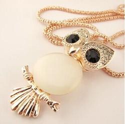 Kpop opale hibou pendentif collier/bijoux en cristal chaîne en or long kolye femmes accessoires en gros/colar coruja/collier/longos