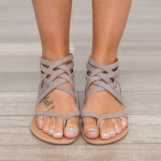 2274d219c999 Factory Direct Women Sandals Plus Size 43 Gladiator Sandals Women Summer  Shoes Female Flat Sandals Beach