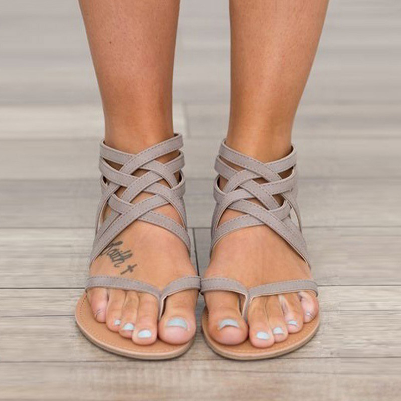 Women Sandals Plus Size 37-43 Gladiator Sandals For Women Summer Shoes Female Flat Sandals Flip Flops Beach Shoes Women covoyyar 2018 fringe women sandals vintage tassel lady flip flops summer back zip flat women shoes plus size 40 wss765