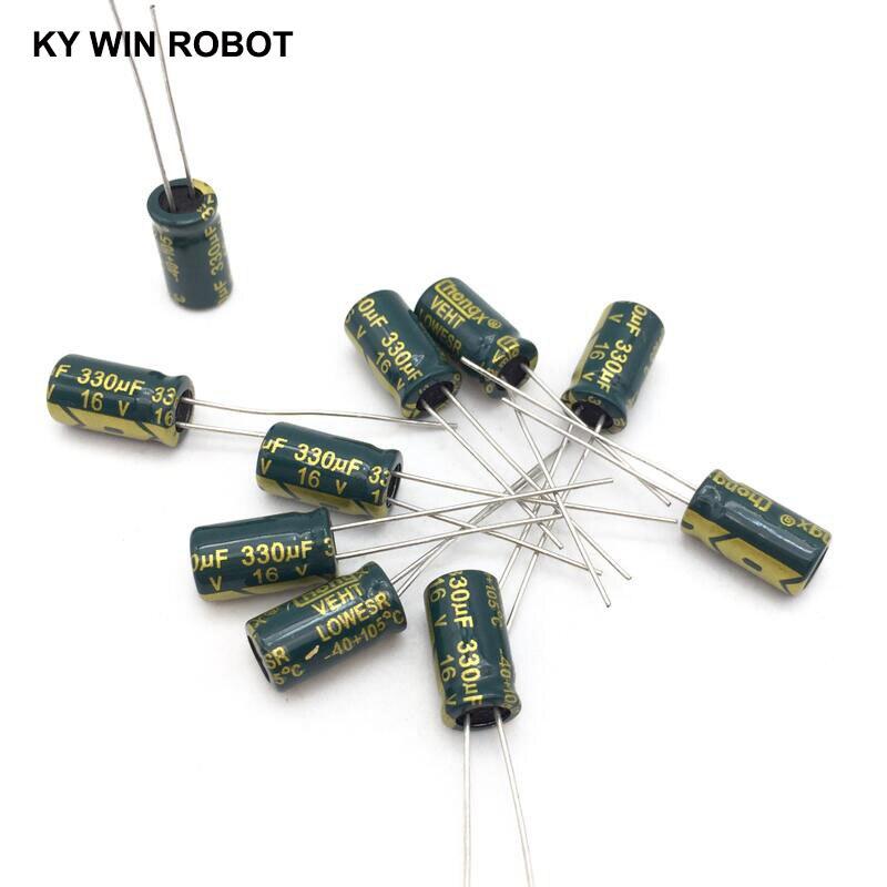 20 pçs/lote 16 v 330 uf 6x12mm 16 alta freqüência de baixa impedância capacitor eletrolítico de alumínio 330 uf v