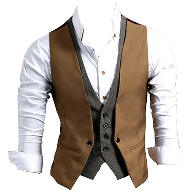 ce235bf05 Fashion Faux Two Piece Male Slim Vest V-neck Sleeveless Slim Fit Jacket  Business Suit Vests