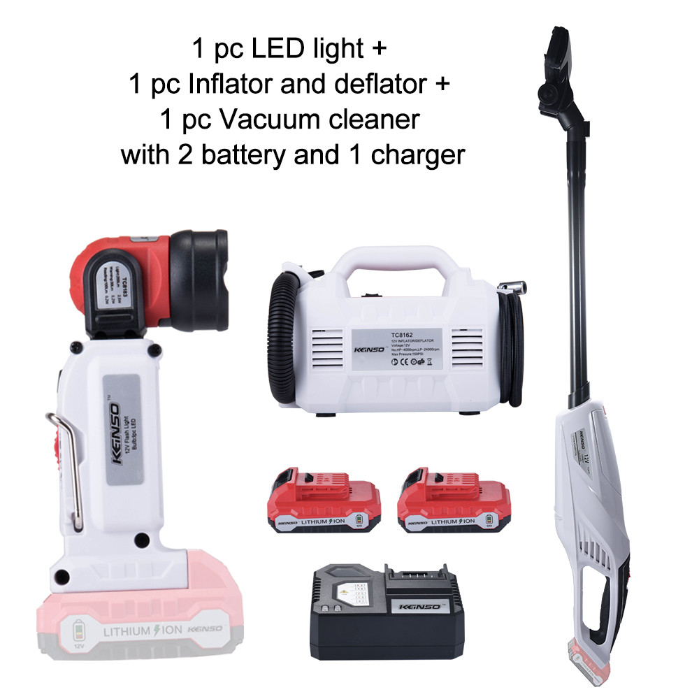 3 Piece Combo Kit KEINSO 12V Lithium Ion LED Light Inflator and Deflator Combination 2 Tool