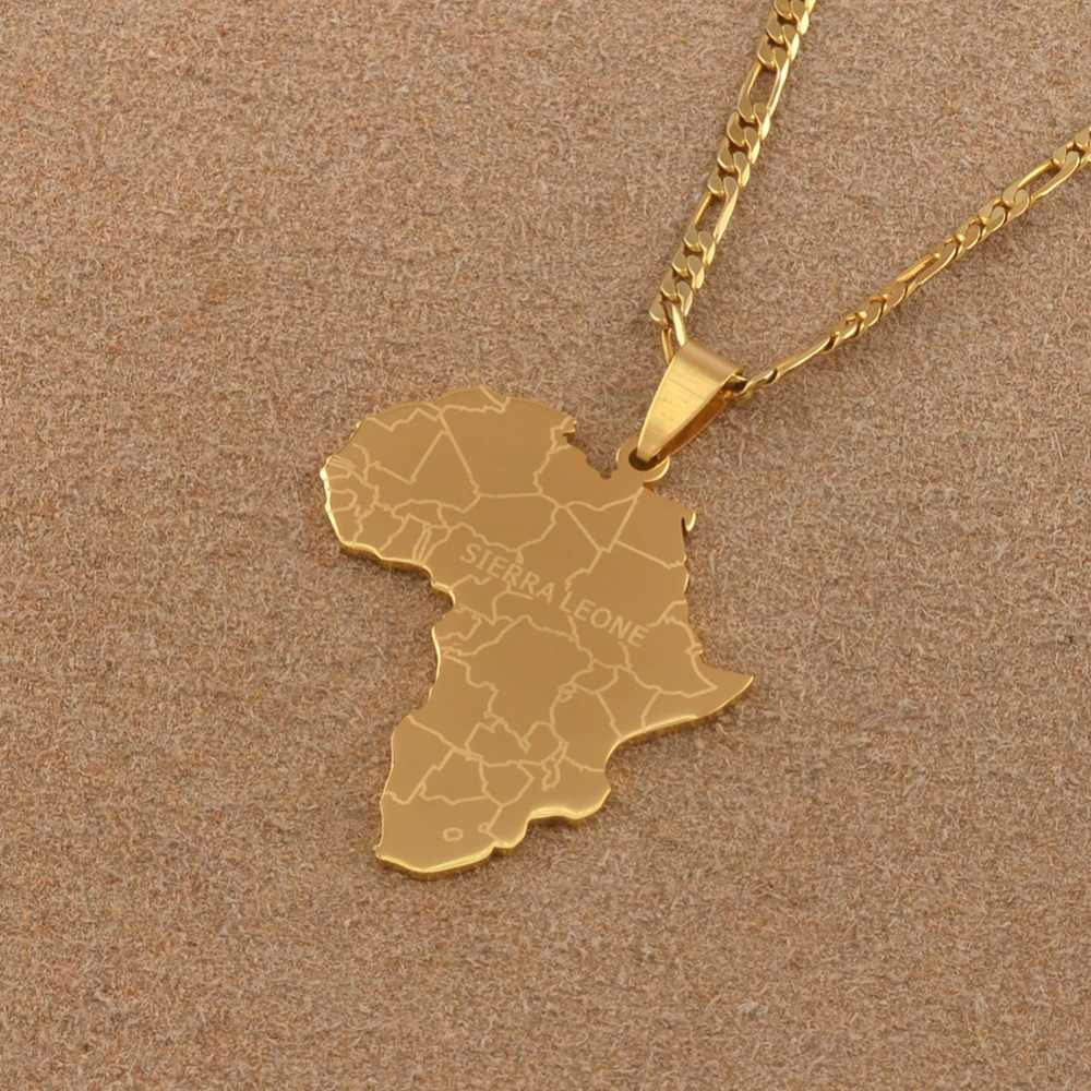 Anniyo hip-hop styl mapa afryki z sierra leone wisiorek naszyjniki złoty kolor biżuteria dla kobiet mężczyzn afrykańskie mapy prezenty #043921