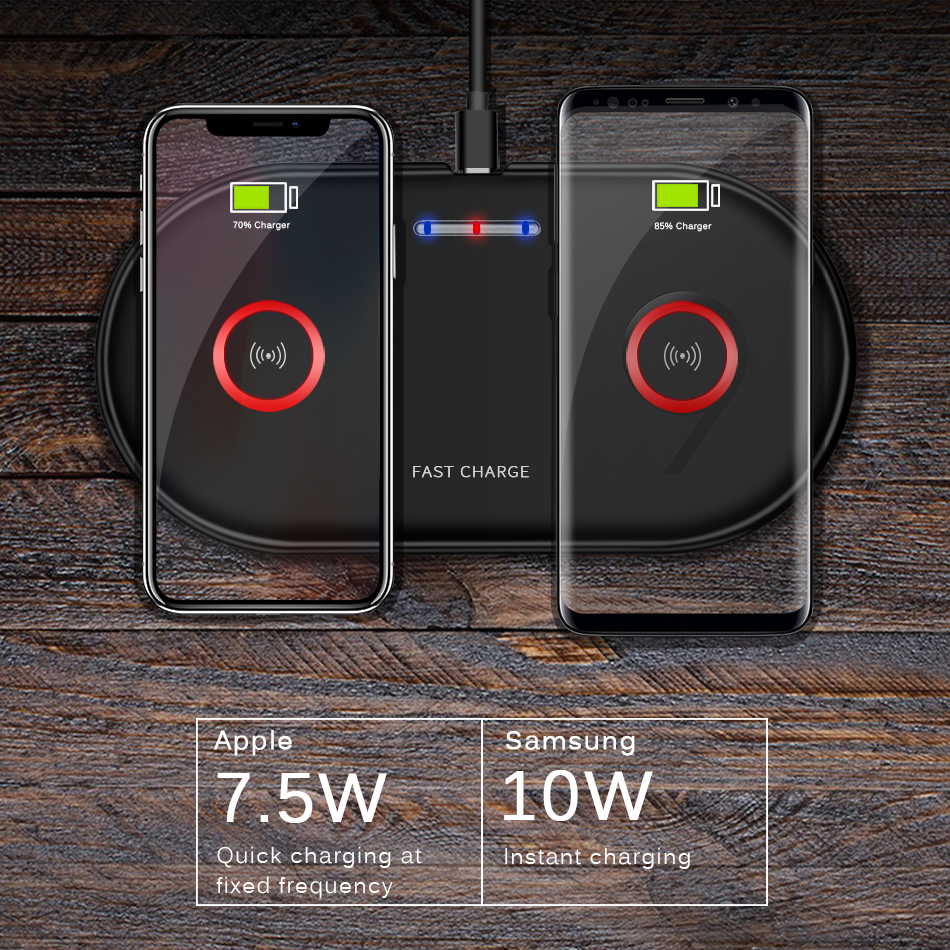 Double Seat Wireless Charger Pad 5W & 10W Fast Charging for iPhone 7.5W 8 X Samsung Charge Mobile Phone QI Device CinkeyPro 4