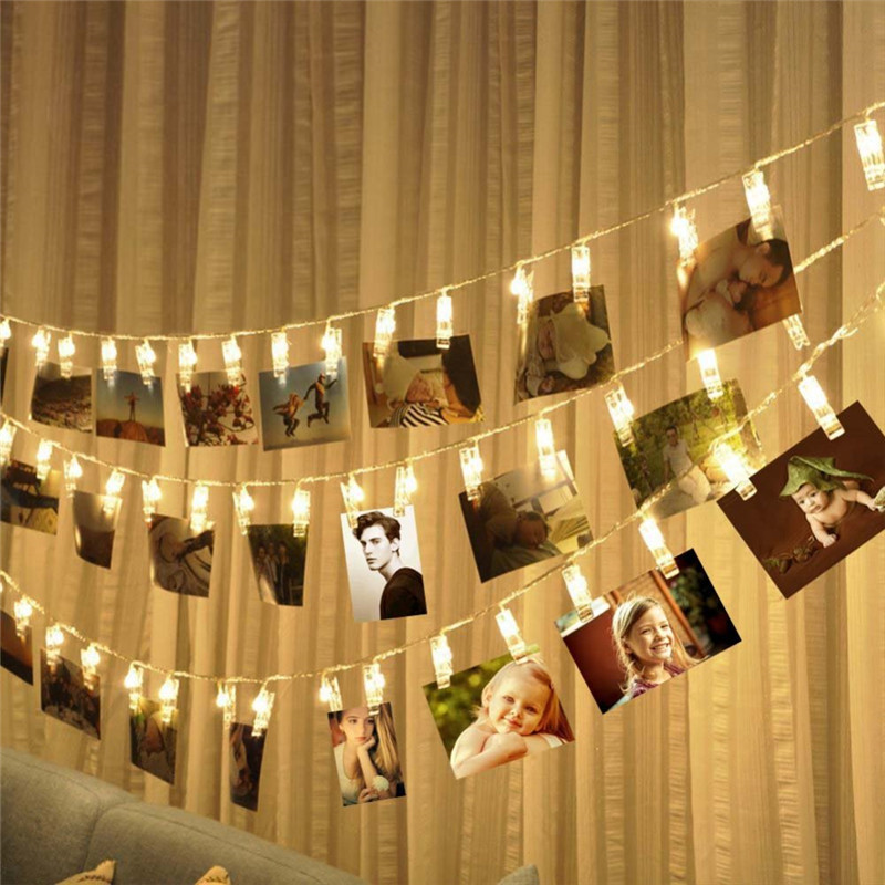 1 5M 3M 6M Photo Clip Holder LED String lights Battery Powered Christmas New Year Party Wedding Ramadan Decoration Fairy lights in LED String from Lights Lighting