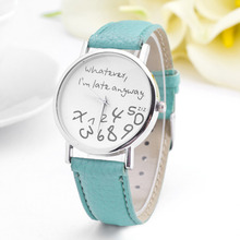 New Design Watch Women PU Leather band Whatever I am Late Anyway Letter Watches Ladies Girl Dress Wrist Bracelet Watches