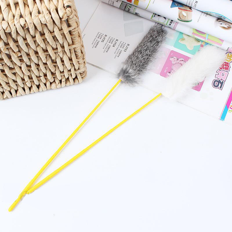 Pet Cat Toy Teaser Rabbit Hair Feathers Tease Cat Stick Pet Interactive Toy Goods for Cats Catcher Teaser Stick Toys in Cat Toys from Home Garden