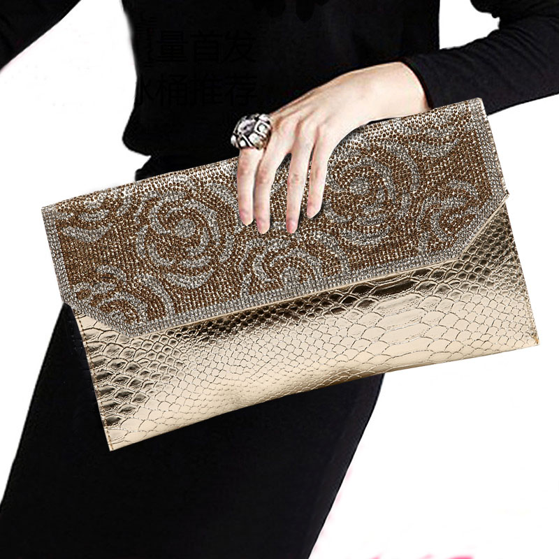 2017 New Elegant Fashion PU Leather Diamond Evening Bags Womens Rhinestone Banquet Designer Handbag Day Clutches Shoulder Bag new fashion womens elegant pleated satin rhinestone fashion clutch handbags evening bag