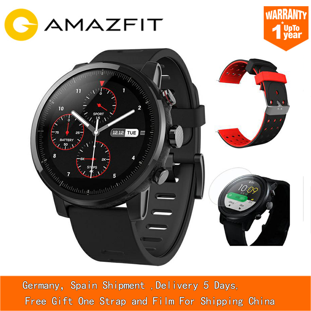 xiaomi mi huami amazfit smart watch stratos 2 english version sports smartwatch with gps ppg heart rate monitor 5atm waterproof Free Strap Xiaomi HUAMI AMAZFIT Stratos GPS Smart Watch Sports SmartWatch English Version 5ATM Waterproof Touch Screen Watch Men