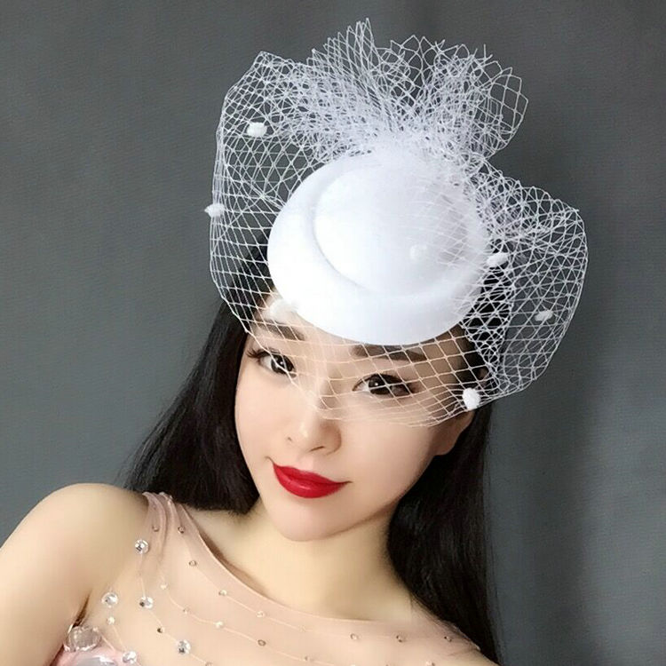 Newest  White Black Dotted Mesh Wedding Fascinator Hat Women Vintage European Ladies Fancy Show Party Race Dinner Veil Headpiece 15 690 after dinner show