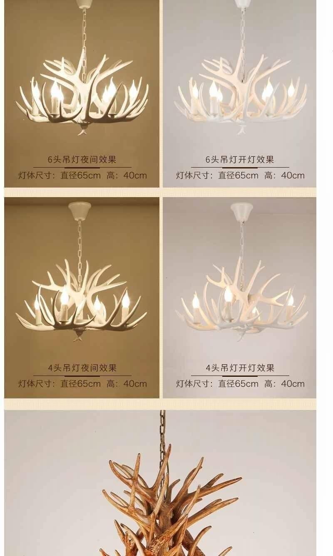 Chifre veado resina lustre iluminação para sala