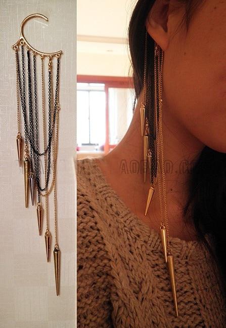 Fashion long Spike Ear Cuffs Tassel Kõrvarõngad naistele Tatto Punk Ehted Isiksus Üks Ehted Vintage Kõrvarõngad Ehted