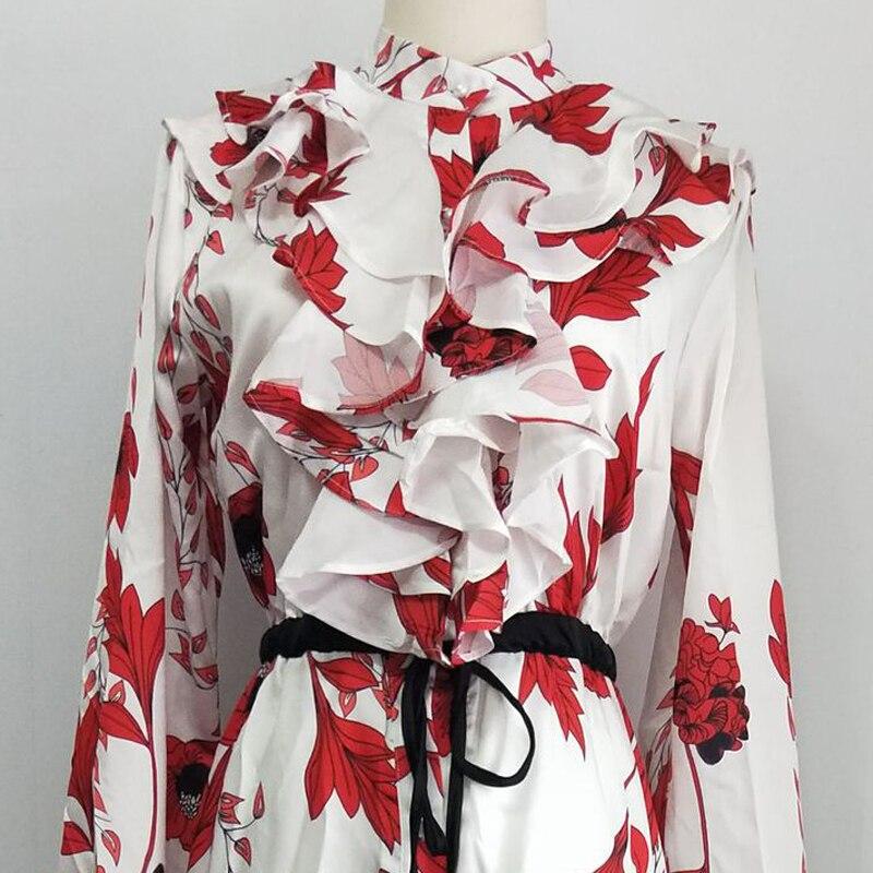 OXANT femmes imprimé longue robe Falbaled vacances robe avec des bretelles fendues niché sous la taille montre mince robe en mousseline de soie - 4