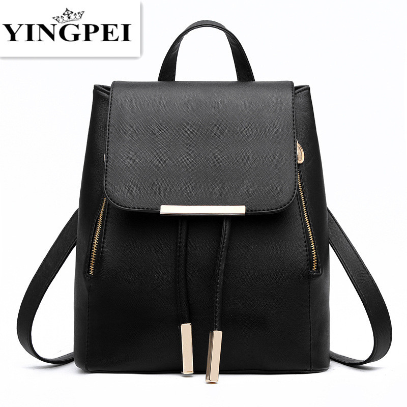 YINGPEI Leather Bagpack Women Laptop Travel Fashion School Bags for Teenagers and Girls Hand Backpack Leisure High Quality