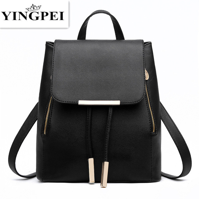 Yingpei Leather Bagpack Women Laptop Travel Fashion School Bags For Agers And S Hand Backpack Leisure