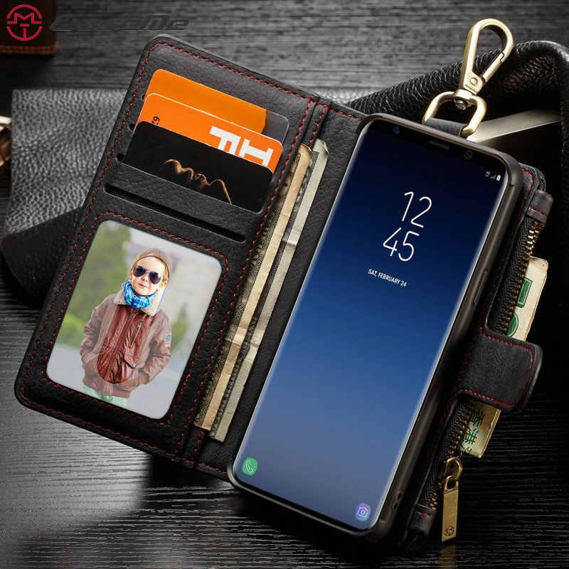 caseme samsung galaxy s9 plus detachable zipper leather wallet case