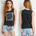 European And American Style Round Neck Loose Black Letters Printed Tank Tops Women'S Fashion Casual Sleeveless Tank Tees
