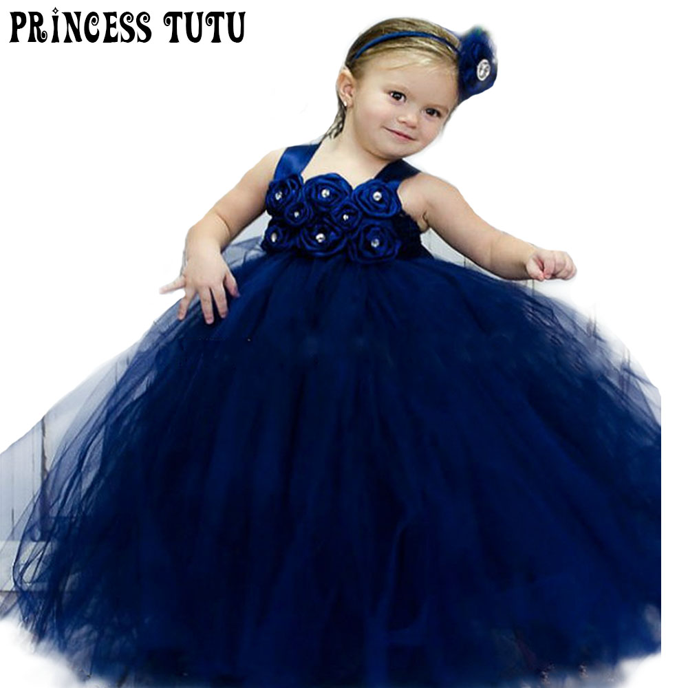 Navy Blue Flower Girl Tutu Dress Elegant Spring Summer Girls Wedding Party Dresses With Headband For Photos Kid Birthday Clothes лампа светодиодная диммируемая e14 6w 4000к свеча матовая vg2 c2e14cold6w 5492