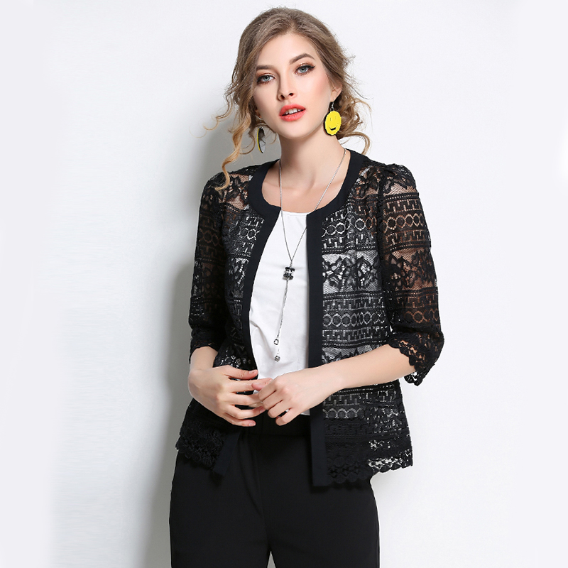 2017 Europe and The United States New Arrival Female Plus Size Spring Shirt Women Fashion Hollow Slim Solid Lace Shirt 883F 30 8