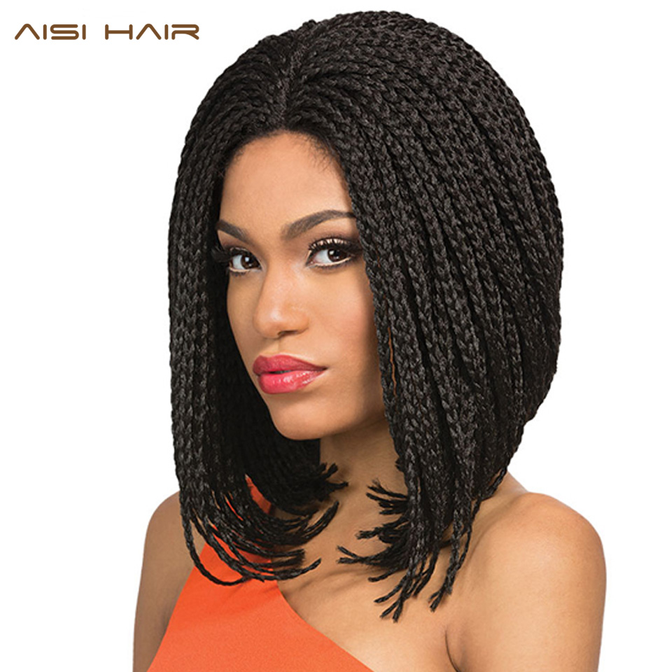 AISI HAIR Bob Wig Syntetisk Spets Fram Paryk Box Braid Bob Wig För - Syntetiskt hår