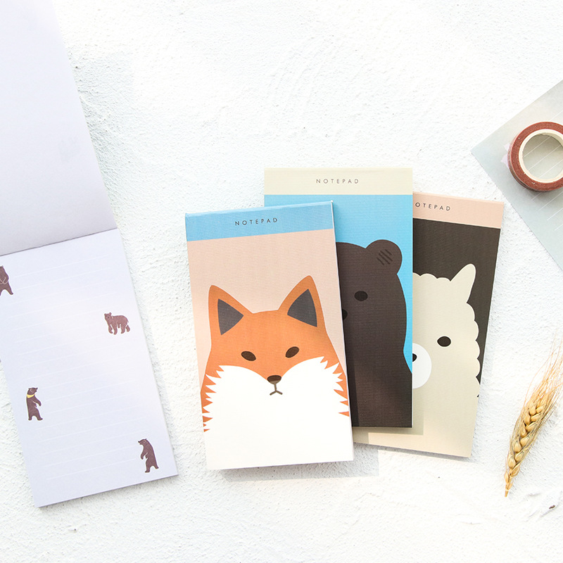 cute long memo pad cartoon animal Horizontal line fox bear sheep kawaii notepad for planner notebook