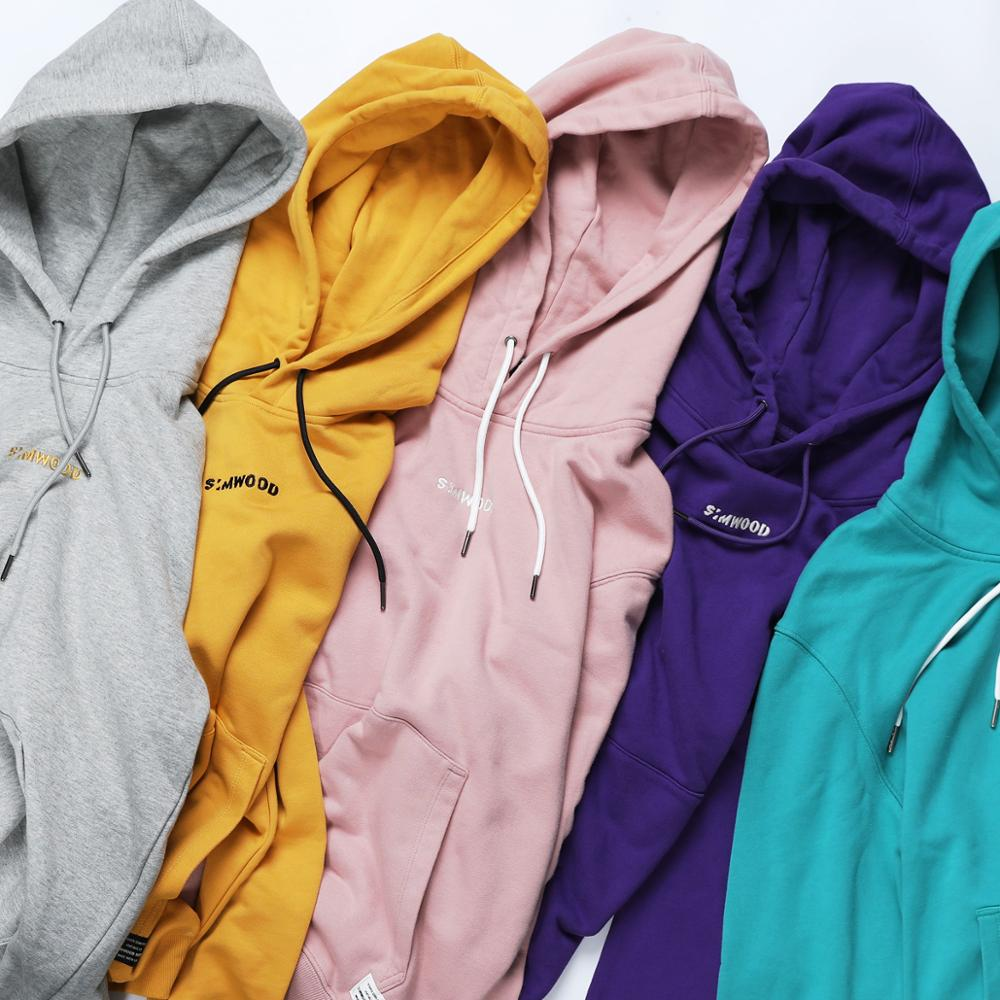 SIMWOOD Fashion Hoodies Men Casual Hip Hop Embroidered Hooded 100% Cotton Streetwear Sweatshirts Regular Fit Plus Size  180492