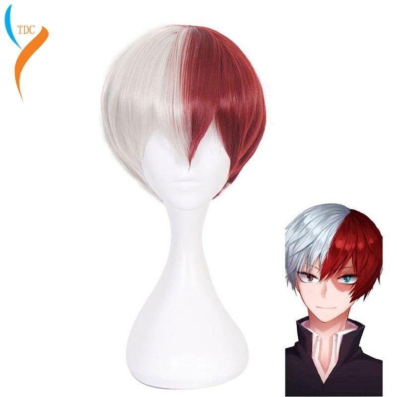 Anime meu herói academia boku não hiro akademia shoto todoroki shouto branco e vermelho cosplay peruca + peruca boné