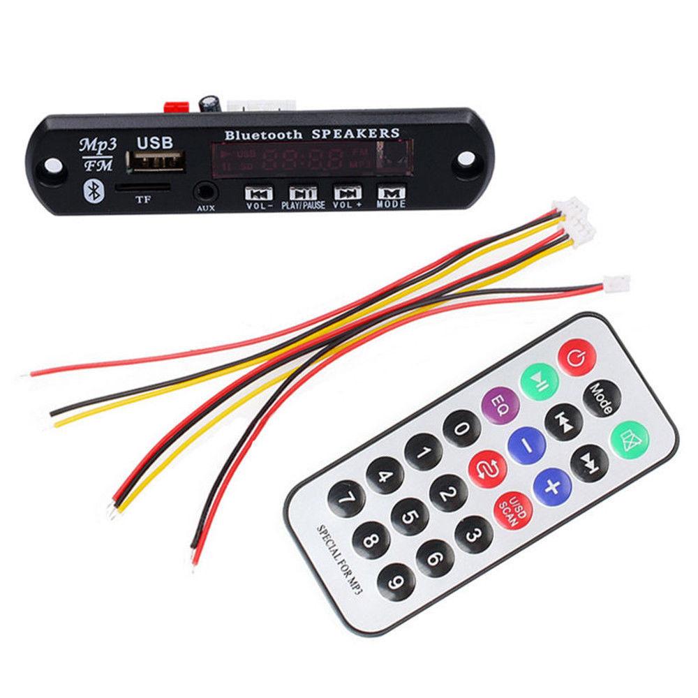 DC 5V Automobile Car Bluetooth MP3 WMA FM AUX Decoder Board Plate Audio Module TF SD Card USB Radio Car MP3 Speaker Accessories
