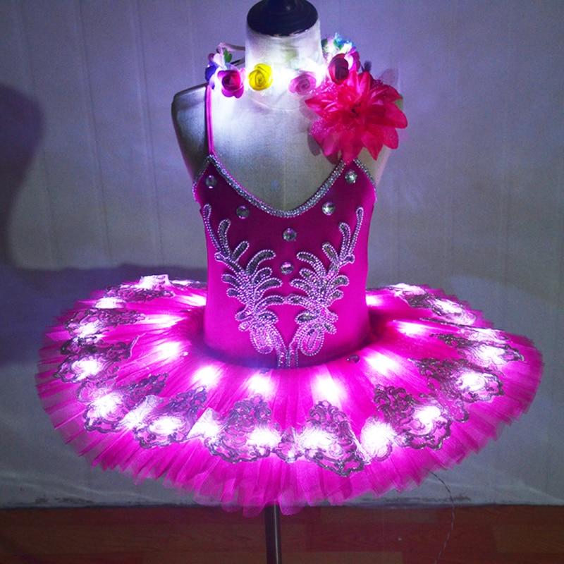 LED Swan Lake Ballet Costumes Enfants Classique Ballet Tutu Ballet Filles Crêpe Paillettes Tutu Jupes Ballet Parti Professionnel Tutu