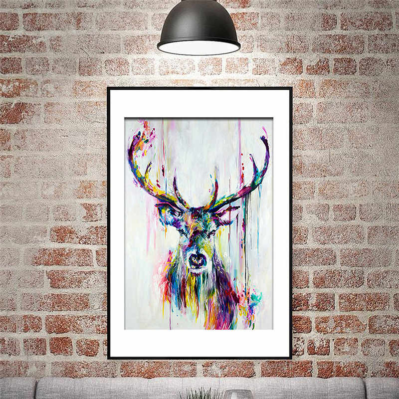 Watercolored Deer Head Inkjet Canvas Poster Print Abstract Animal Picture Frameless Canvas Inkjet Oil Canvas Painting Wall Art
