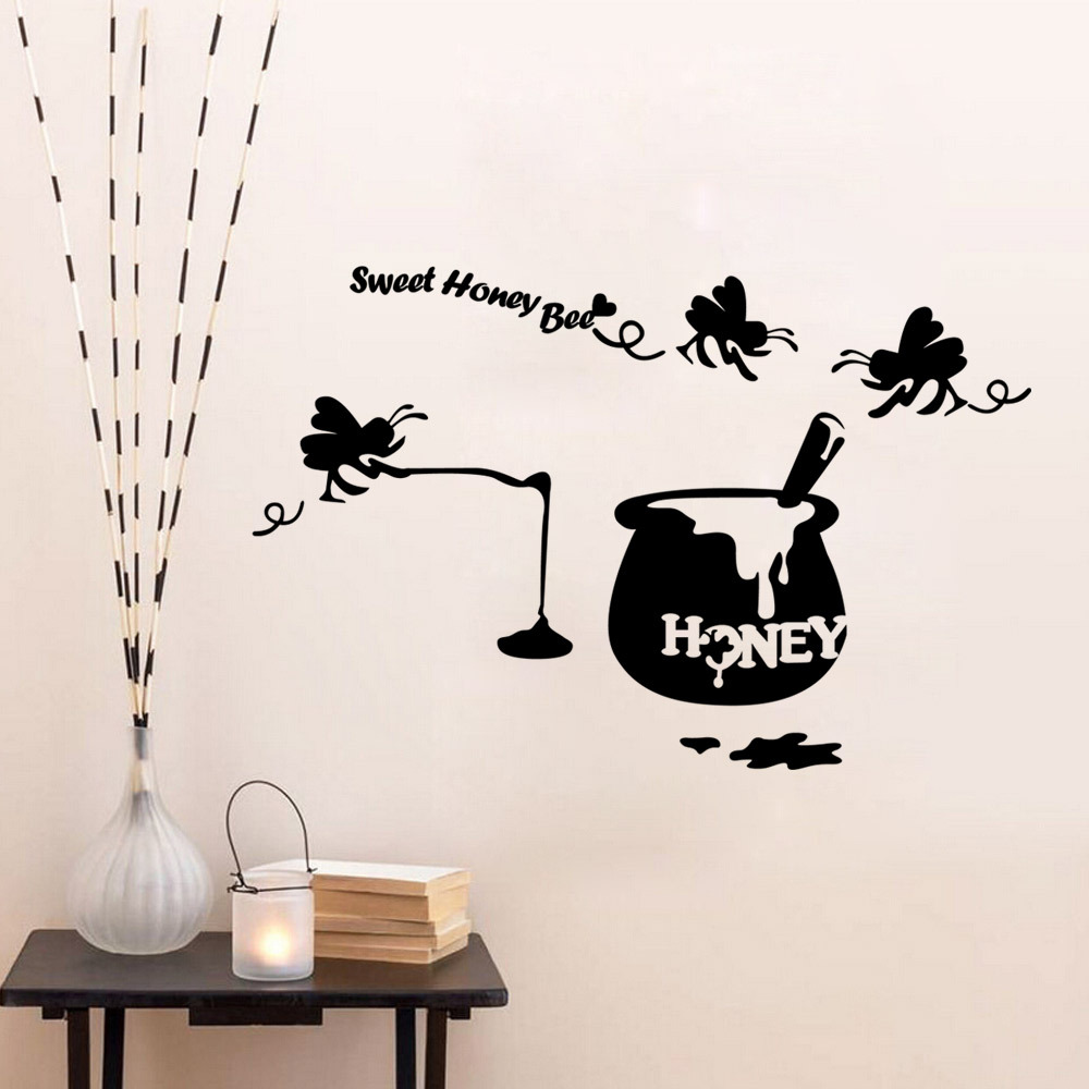 Sweet honey bee wall decals home decor wall sticker living room sweet honey bee wall decals home decor wall sticker living room kitchen room wallpaper for walls adhesive wall poster mural in wall stickers from home amipublicfo Images