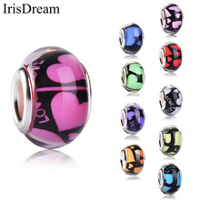20Pcs/Lot 14MM Love Heart Round Loose Plastic Resin Beads Murano Beads Charms Fit DIY Pandora Bracelet For DIY Jewelry Making