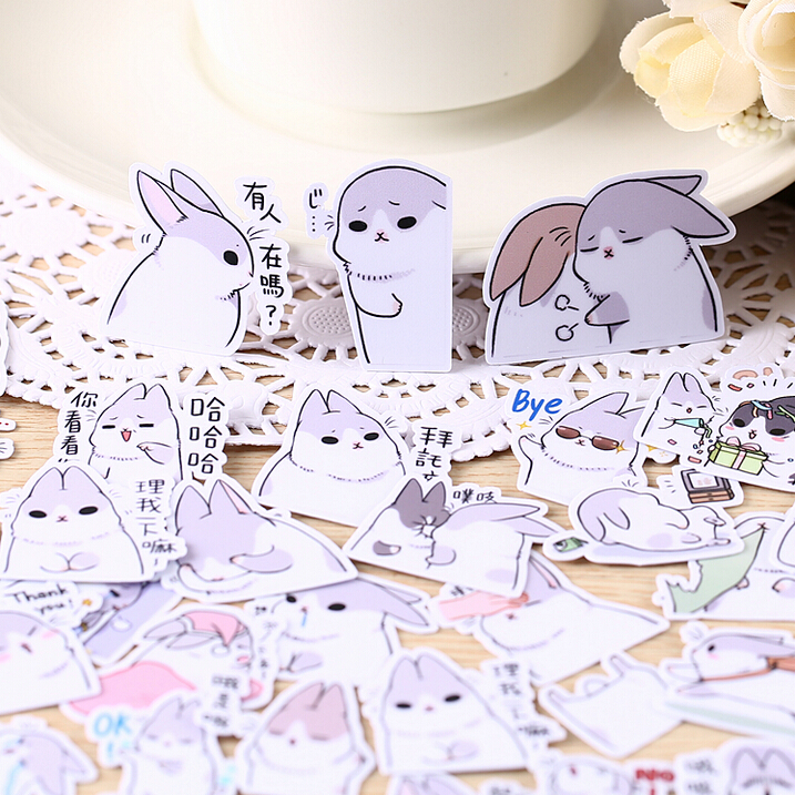 40pcs Creative Cute Self-made Rabbit 2 Scrapbooking Stickers /decorative Sticker /DIY Caft Photo Albums/LINE Express Stick