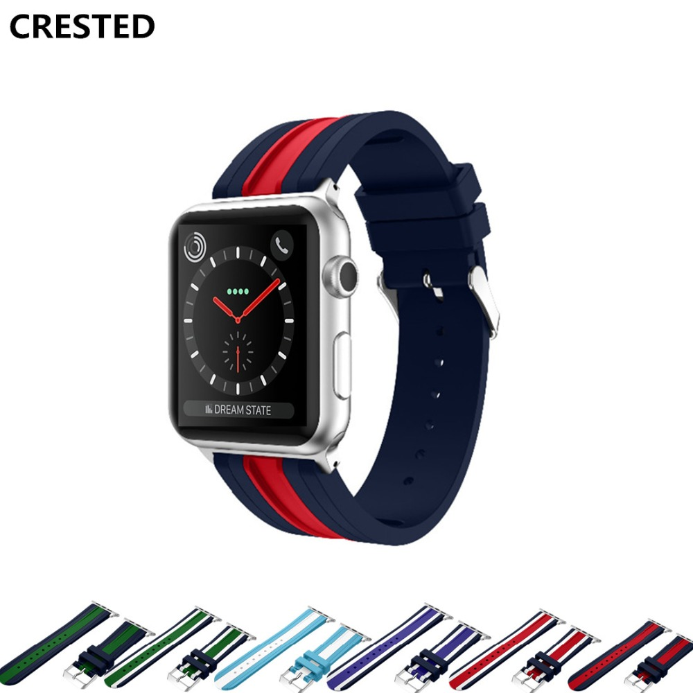 CRESTED silicone Sport band For Apple Watch 42mm 38mm iwatch strap 3/2/1 wrist bracelet watchband replacement rubber watchband sport silicone band strap for apple watch nike 42mm 38mm bracelet wrist band watch watchband for iwatch apple strap series 3 2 1