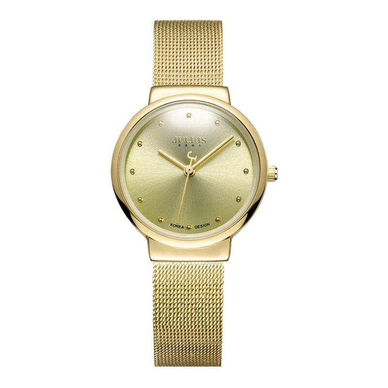 JULIUS JA-426L Ultra fino Plata de plata Marrón Negro de acero - Relojes para mujeres