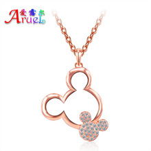 Mickey necklace women girls fashion jewelry christmas gift rose gold color Austrian crystal rhinestone cute pendant necklaces