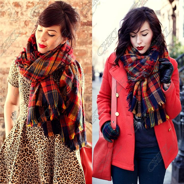985a92b56 Fashion Lady Women Blanket Oversized Tartan Scarf Wrap Shawl Plaid Cozy  Checked Pashmina Hot