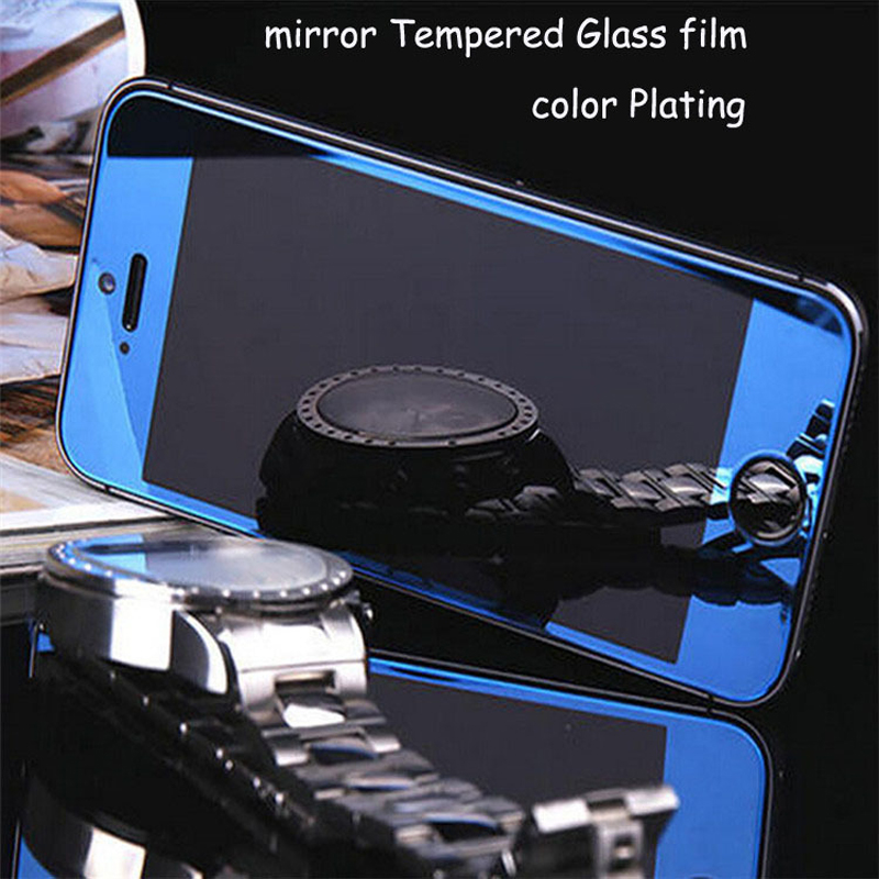 For iPhone 4 4s 5 5s 6s 6 2.5D 0.3mm Screen Protector Metal Plating Mirror Premium Tempered Glass Full Cover Film