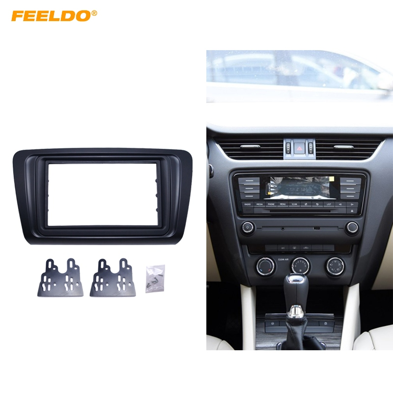 FEELDO Car 2DIN Radio Audio Fascia Frame Panel Dash Mount Kit Adapter With Inner Trim For Skoda Octavia (2014+)/Rapid Spaceback biurlink car usb cable audio input adapter for skoda octavia radio rcd510 rns315