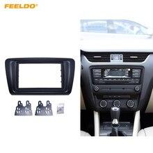 FEELDO автомобиля 2DIN Радио Аудио Фризовая рамка Панель черточки Adapter Kit отделкой для SKoda Octavia A7 2013-подарок
