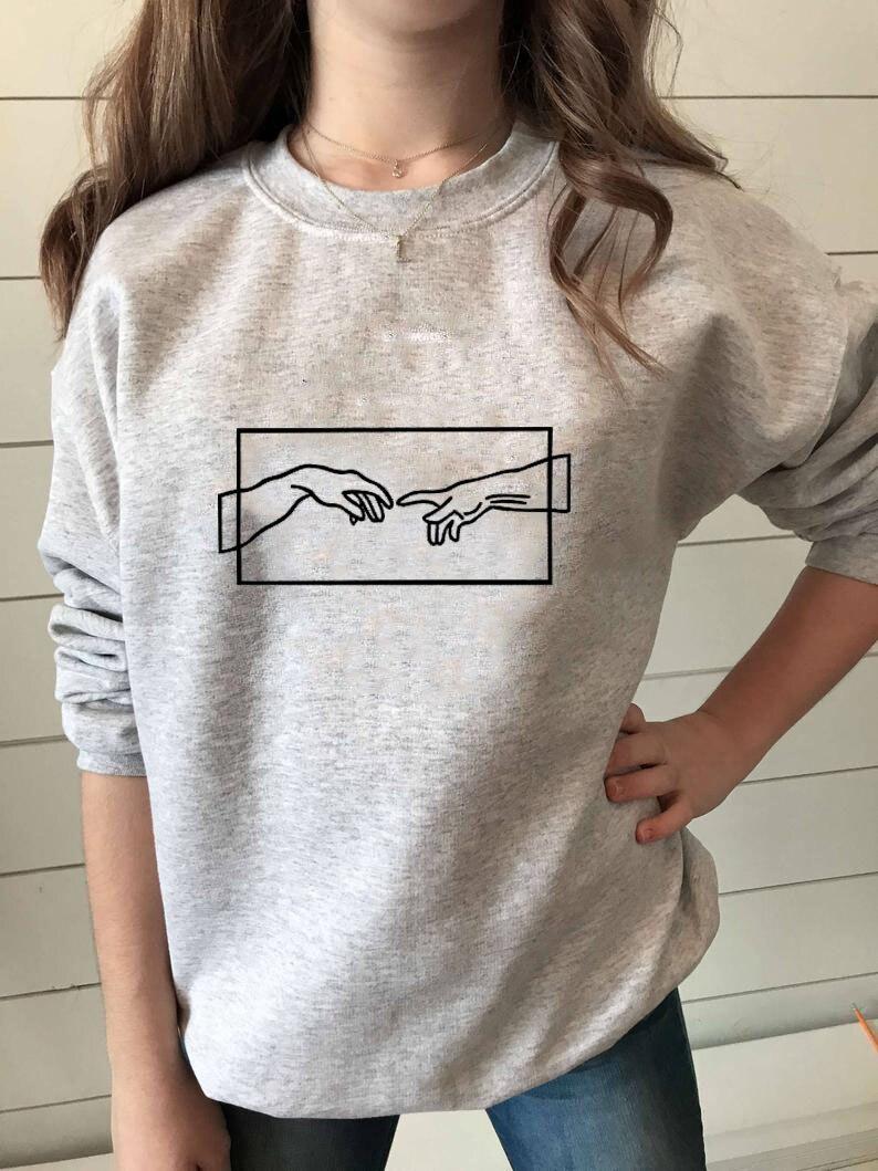 Sweatshirt Michelangelo Personality Printed New Arrival Women's Funny Long Sleeve Casual Cotton Tops Harajuku Sweatshirt