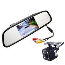 HD Monitor LED de Visión Nocturna de Vídeo Auto Aparcamiento Revertir CCD Cámara de Visión Trasera Con 4.3 pulgadas de Coches Espejo Retrovisor Monitor